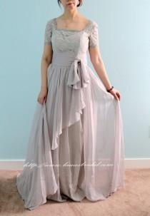 wedding photo - Beautiful High Quality Floor Length Short Sleeve Lace Prom or Mother of the Bride Dress in Light Grey