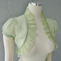wedding photo - Wedding Bolero Shrug Green Meadow Chiffon  With  Lace Trim All Sizes Available Custom Made