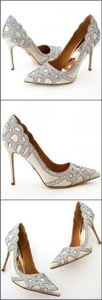 wedding photo - Badgley Mischka Rouge Wedding Shoes, Ivory
