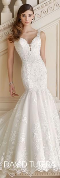 wedding photo - Sequin Tulle And Lace Trumpet Wedding Dress- 217213 Mabel