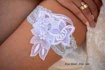 wedding photo - Pale Blue Garter, Wedding Garter White, Light Blue Garter, Lace Wedding Garter, Bridal Garter, Something Blue, White Wedding Gift, Handmade