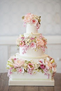 wedding photo - White Floral Wedding Cake
