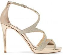wedding photo - Jimmy Choo - Marianne 100 Glittered Leather Sandals - Gold