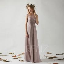 wedding photo - Bridesmaid Dress Rose Gray Chiffon Wedding Dress,Cap Sleeves Jewel Neck Maxi Dress,Illusion Lace Back Prom Dress A Line Evening Dress(T191)
