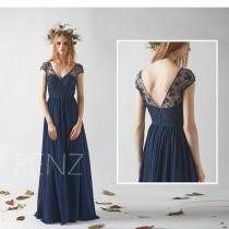 wedding photo - Bridesmaid Dress Navy Blue Cap Sleeve Chiffon Wedding Dress,V Neck Illusion Lace Prom Dress,A line Maxi Dress,Sweetheart Evening Dress(H526)