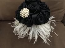 wedding photo - Feather Wedding bouquet/black bouquet/bridesmaid bouquet/brooch bouquet/bridal bouquet