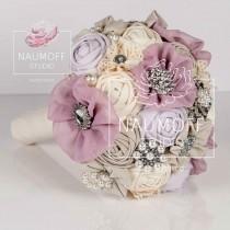 wedding photo - Brooch Bouquet, Keepsake Bouquet, Fabric Bouquet, Bling Bouquet, Muted, Lilac Mist, Perl Gray, Flower White