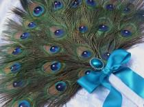 wedding photo - Three Layer Crystal Peacock Feather Bridal Fan in your choice of colors