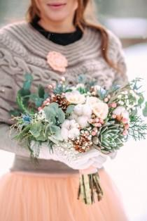 wedding photo - Light Blue And Peach Wedding Colours For Outdoor Winter Wedding In The Snow