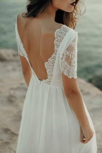 wedding photo - Wedding Dress, Beach Wedding Dress, Lace Wedding Dress, Boho Wedding Dress, Wedding Dress Bohemian, Open Back Wedding Dress. Backless Dress