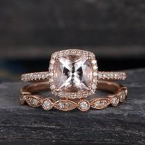 wedding photo - Morganite Engagement Ring Rose Gold Floral Cushion Cut Ring Wedding  Bridal Diamond Half Eternity Art Deco Anniversary Halo  Promise