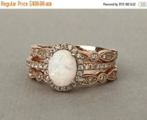 wedding photo - White Opal Art Deco Rose Gold Simulated Diamond Engagement Set Sterling Silver 3PC Fancy Wedding Engagement Promise Band Ring Set
