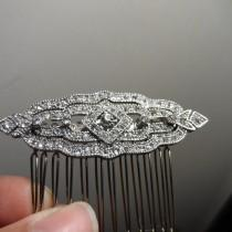 wedding photo - Art Deco comb Clear Rhinestone Silver Bridal Hair Comb, Great Gatsby comb Gatsby Brooch Bridal Comb Downton Abbey Vintage bridal accessories
