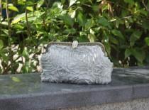 wedding photo - Womens clutch Cosmetics bag,toiletry kiss lock Handbag,kiss lock frame package,Unique affixed cloth bag,metal framework handbag