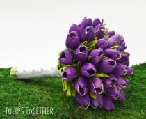 wedding photo - Purple Real Touch Tulip Wedding Bouquet - Ready for Quick Shipment 3 Dozen Tulips Customize Your Wedding Bouquet - Bridal Bridesmaid Bouquet