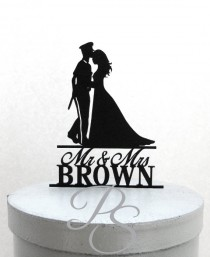 wedding photo - Personalized Wedding Cake Topper - Police Officer and Bride Silhouette with Mr & Mrs name