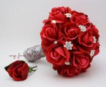 wedding photo - Red Roses & Rhinestones Bridal Bouquet Real Touch Bridal Bouquet Roses Groom's Boutonniere Red Grey Wedding Bouquet Boutonniere
