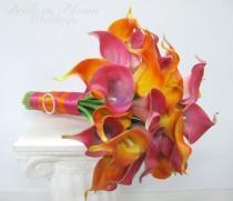 wedding photo - Beach bouquet, Hot pink and orange calla lily bouquet, Tropical Wedding bouquet, Destination wedding flowers