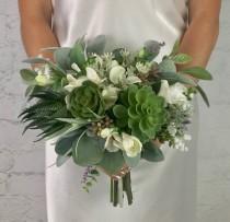 wedding photo - Wedding Bouquet, Bridal Bouquet, Succulent Bouquet, Greenery Bouquet, Artificial Bouquet, Silk Bouquet, Corsage, Boutonierre