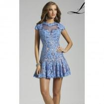 wedding photo - Blue/Nude Lace Flounced Skirt Dress by Lara Designs - Color Your Classy Wardrobe