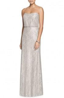 wedding photo - Metallic Lace Strapless Blouson Gown