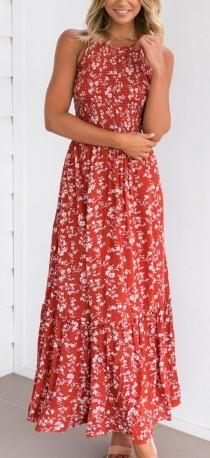 wedding photo - Red Halter Shirred Floral Print Lace Up Back Maxi Dress