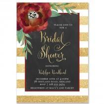 "wedding photo - ""Katelyn"" Gold   White Stripe Chalkboard Christmas Bridal Shower Invitation"