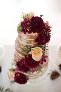 wedding photo - An Elegant Woodsy Themed Wedding With Naked Cakes