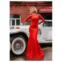 wedding photo - Gorgeous Lace & Satin Jewel Neckline Mermaid Evening Dresses - overpinks.com