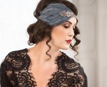 wedding photo - Great Gatsby headband, gatsby style dress, Downton Abbey serre tete 1920s headpiece, black feather headband, roaring 20s headpiece,