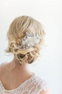 wedding photo - Bridal Hair Comb, Wedding Headpiece, Floral Crystal Hair Comb