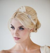 wedding photo - Bridal Headband, Feather Headband, Wedding tiara, Ivory Crystal Headband - WILLOW