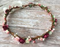 wedding photo - Burgundy flower crown, fall flower crown burgundy floral crown, flower girl crown, burgundy flower headband, bridesmaids flower crown
