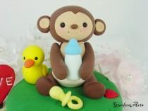 wedding photo - Customise Lovely Baby Monkey Cake Topper with Grass Base - for Baby Shower or Kids Birthday
