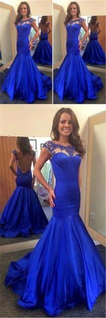 wedding photo - Scoop Neckline Royal Blue Satin Beaded Backless Long Mermaid Prom Dresses, PD0288