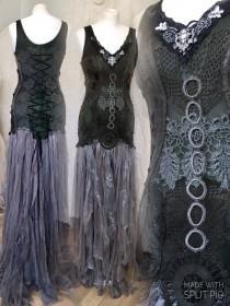 wedding photo - Gothic wedding dress black,witches wedding dress,Rock n Roll wedding dress,bridal dress,gypsy wedding dress, Rawrags,bridal gown steampunk