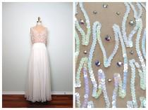 wedding photo - VTG Nude Illusion Iridescent Sequin Jewel Encrusted Dress // Sheer Nude Embellished Gown