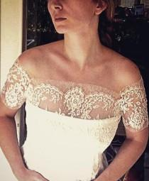 wedding photo - Only TWO AVAILABLE Chantilly lace off-shoulder bridal lace top ivory lace top ivory lace blouse bridal bolero jacket