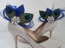 wedding photo - PEACOCK Wedding Shoe Clips, Royal Blue Peacock Feather Shoe Clips, Bride Shoe Accessories, Royal Blue Wedding Shoes, Royal Blue Weddings