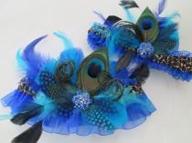 wedding photo - Royal Blue Garter Set, Peacock Bridal Garter, Leopard Garter, Teal Blue / Turquoise Garters, Blue Prom Garters, Something Blue