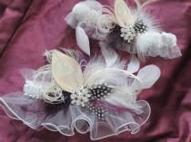 wedding photo - White Wedding Garter Set, Bridal Garters, Peacock Garters, Purple Feather Garter, Luxury Couture Garter, Diamante Crystal Garter