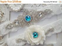wedding photo - 20% SALE Wedding Garter Set, Bridal Garter Set, Vintage Wedding, Off White Lace Garter- Style 100D
