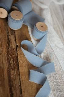 "wedding photo - Dusty Blue ribbon 1"" Hand dyed Cotton bridal bouquet blue ribbon, Wedding decor ribbon, gift wraps, invitation ribbon, vegan wedding"