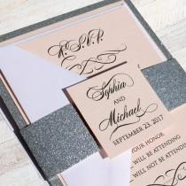 wedding photo - Blush Love Story Wedding Invitation- blush wedding, blush metallic, glitz invitation, luxurious invitation, sparkle invitation, blush invite