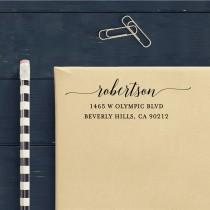 wedding photo - Custom Address Stamp - Calligraphy Waves Self Inking Return Address Stamp