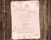 wedding photo - Winter Bridal Shower Invitations, Wedding, Pink, Gold, Snowflakes, Blush, White, 10 Printed Invites, FREE Shipping, SNWBL Glitter, Snow Fall