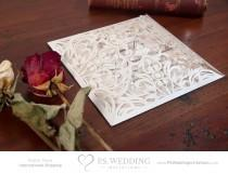 wedding photo - 5 PACK – Laser Cut Victorian Lace Wedding Invitation with intricate fold outs – Vintage & Romantic (Shimmery Off White) –– FREE SHIPPING!