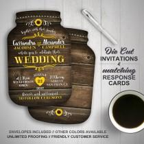 wedding photo - Sunflower wedding invitation, Mason Jar Wedding Invitations, Mason Jar shaped cards, Country Wedding, Printed Wedding Invitations, rustic