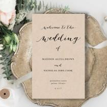 wedding photo - Folded Wedding Program Template, Rustic Wedding Program Template, Caligraphy wedding Program Template, Edit Yourself in MS word