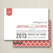 wedding photo - custom modern wedding invitation - happy hearts.